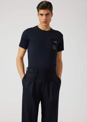 Emporio Armani Jersey T-Shirt With Round Patches And Brooch
