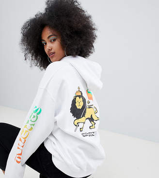 Crooked Tongues oversized hoodie with lion print in white