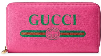 Gucci Pink Logo leather zip around wallet