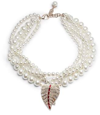 Lulu Frost Vintage Pearl Collage Art Deco Leaf Necklace