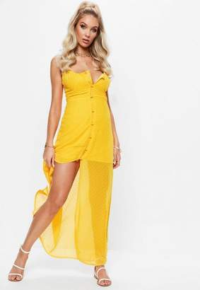 Missguided Yellow Dobby Button Down Maxi Dress
