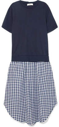 Clu Cotton-jersey And Gingham Cloqué Midi Dress - Navy