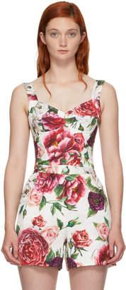 Dolce & Gabbana Multicolor Peonie Brocade Bustier