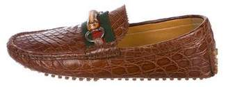 Gucci Crocodile Bamboo-Horsebit Driving Loafers