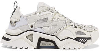 Calvin Klein Leather, Suede And Mesh Sneakers - White