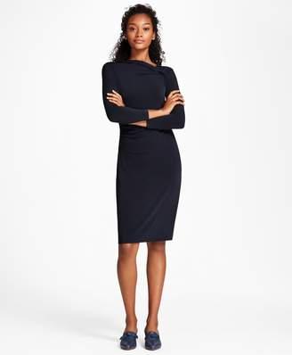Brooks Brothers Asymmetrical-Neck Jersey Sheath Dress