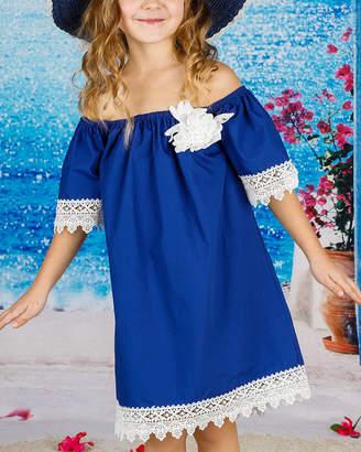 Mia Belle Girls Boho Lace Trimmed Elastic Shoulder Dress