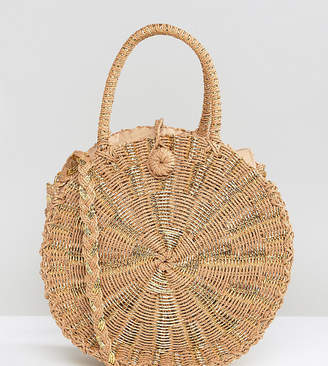 South Beach Round Gold Woven Straw Cross Body Bag
