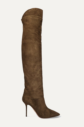 Aquazzura Lancaster 95 Suede Knee Boots - Army green