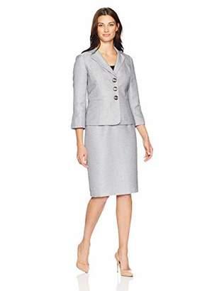 Le Suit Women's 3 Button Notch Collar Tweed Skirt Suit