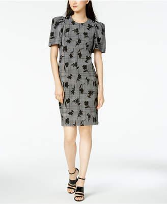Calvin Klein Puff-Sleeve Printed Sheath Dress