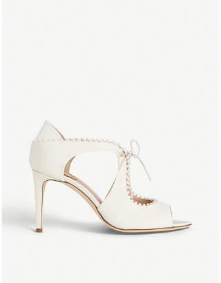 LK Bennett x Jenny Packham Ellena pearl-embellished grosgrain peep-toe sandals