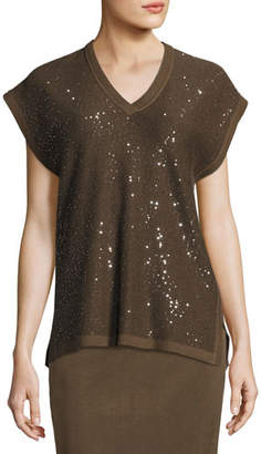 Misook Cap-Sleeve V-Neck Sequined Knit Tunic, Hazel/Black