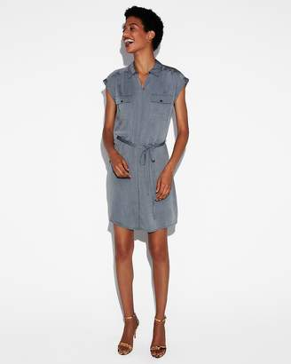 Express Short Sleeve Pocket Shirt Dress