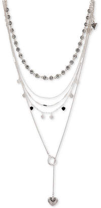GUESS Silver-Tone 3-Pc. Set Crystal, Heart & Lariat Necklaces