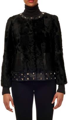 Gorski Lamb Shearing Jacket with Studded Leather Trim