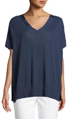 Joan Vass V-Neck Sweater w/ Grosgrain Trim