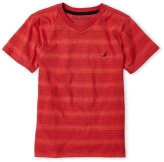 Nautica Boys 8-20) Red V-Neck Stripe Tee