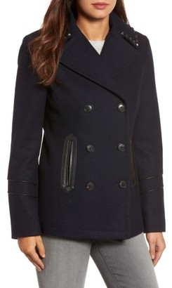 Women's Michael Michael Kors Faux Leather Trim Wool Blend Peacoat $210 thestylecure.com
