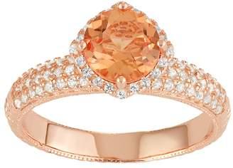 Kohl's 14k Rose Gold Over Silver Peach Quartz & Lab-Created White Sapphire Halo Ring