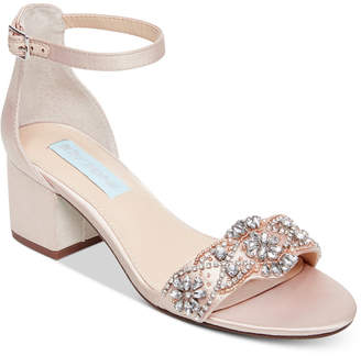 Betsey Johnson Mel Block-Heel Embellished Sandals