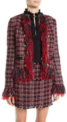 Pinko Open-Front Tweed Fringe Blazer