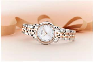 Citizen Eco-Drive Jolie Diamond Dial Rose Gold Two-Tone Stainless Steel Bracelet Ladies Watch