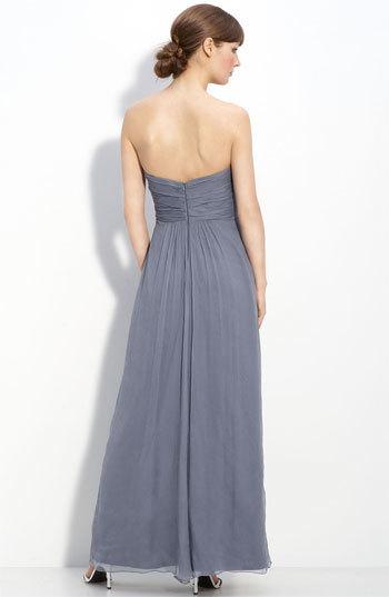 Amsale Women's Strapless Crinkle Chiffon Gown