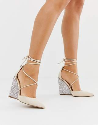 BEIGE Asos Design ASOS DESIGN Porter high heeled wedges in