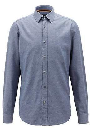 HUGO BOSS Regular-fit shirt in mouliné dobby cotton