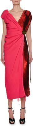 Marni V-Neck Bicolor Mixed-Media Woven Wrap Ankle-Length Dress