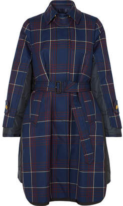 Sacai Layered Checked Wool And Quilted Shell Coat - Blue