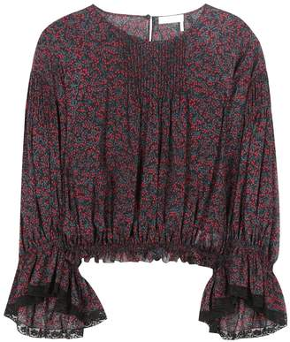 Chloé Printed cotton and silk top
