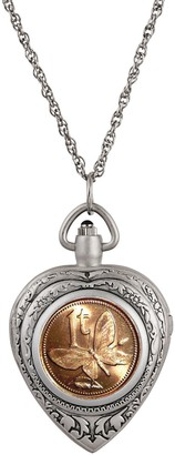 American Coin Treasures Butterfly Coin Heart Watch Pendant