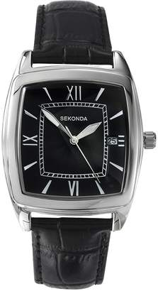 Sekonda WatchLand Men's Quartz Watch with Black Dial Analogue Display and Black Leather Strap 3776.71