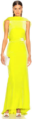 Brandon Maxwell Velvet Drape Back Gown in Lime | FWRD