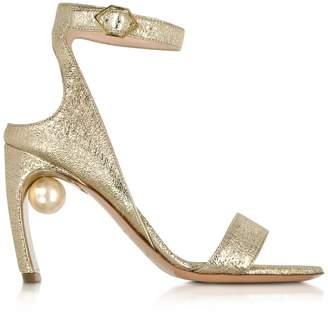 Nicholas Kirkwood Crinkly Metallic Leather 90mm Lola Pearl Sandals