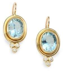 Temple St. Clair Classic Color Aquamarine, Diamond& 18K Yellow Gold Oval Drop Earrings