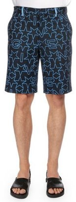 Givenchy Star-Print Flat-Front Shorts, Navy $990 thestylecure.com