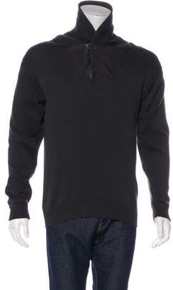 G Star Zip-Accented Mock Neck Sweater