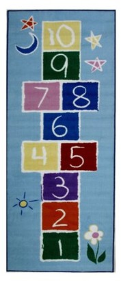 Fun Rugs Fun Time Primary Hopscotch Rectangle Rug, Multi-Color