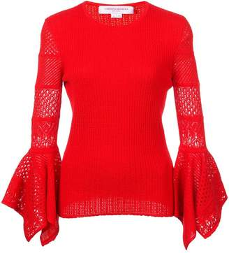 Carolina Herrera open-knit sleeve jumper