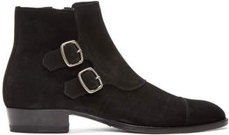Saint Laurent Black Suede Jodhpur Wyatt Boots