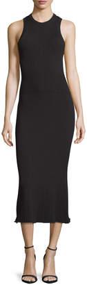 Jason Wu Grey Ribbed Crewneck Midi Dress, Black
