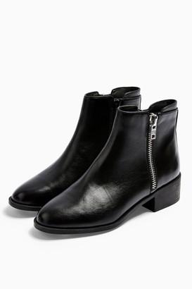 Topshop KHLOE Black Zip Flat Boots