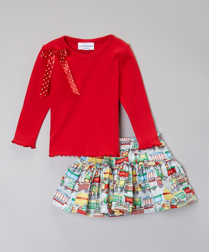Red Santa's Workshop Twirl Skirt & Top - Infant & Toddler