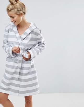 Asos Design Grey & White Stripe Robe In 100% Cotton