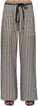 Ann Demeulemeester Striped Cotton Gabardine Wide Leg Pants