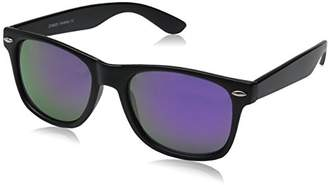 Zerouv ZV-8025-07 Retro Matte Black Horned Rim Flash Colored Lens Sunglasses