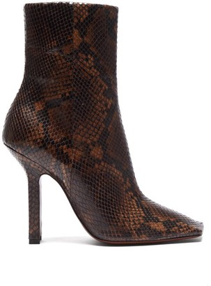 Vetements Boomerang Python Effect Leather Ankle Boots - Womens - Dark Brown